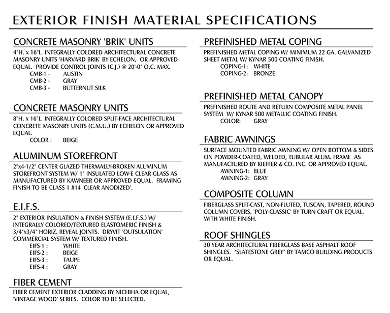 Oberlin Crossing Finish Material Specifications