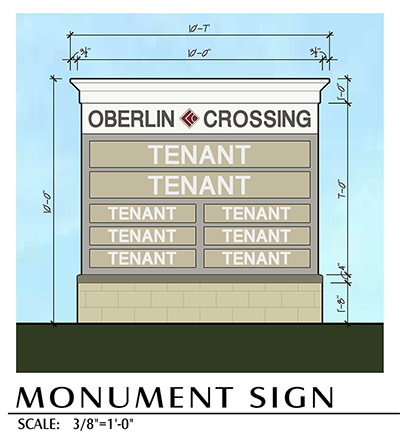Oberlin Crossing Monument Sign